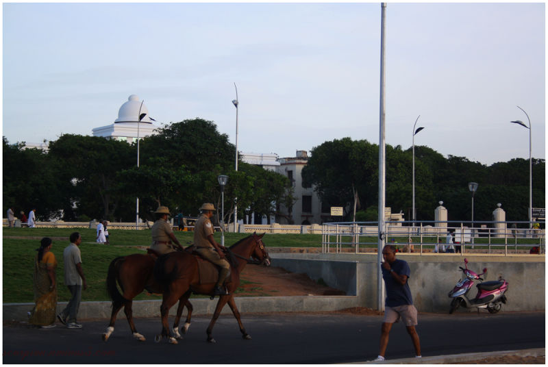 Police patrolling the Marina Beach, Chennai...