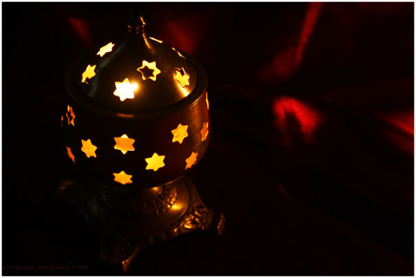 A lighted lamp...