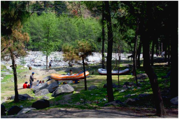 Colourful Rafts alongside River Beas...