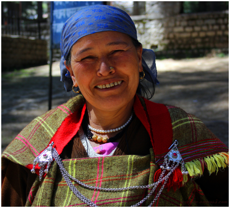 "A happy ""Himachali"" Lady...with colourful attire"