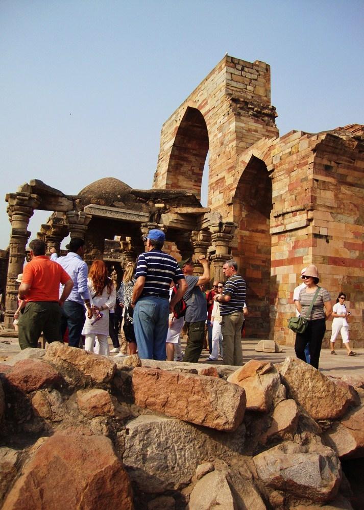 Tourists at Remains/Ruins of Qutb complex