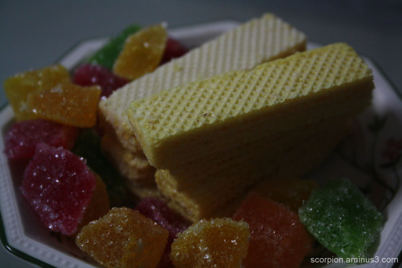 Sugar coated jellies and wafers...