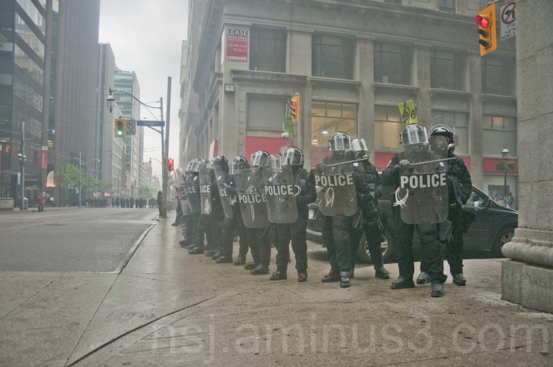 A Police Wall At The G20 In Toronto