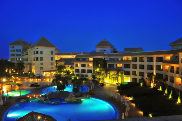 night pool side view