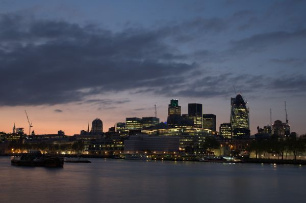 London cityscape including gherkin at dusk
