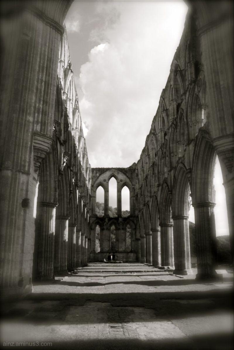 Black and white of Rievaulx Abbey