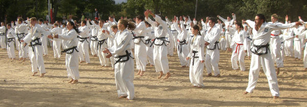 Taekwon-Do training at Pakostane beach