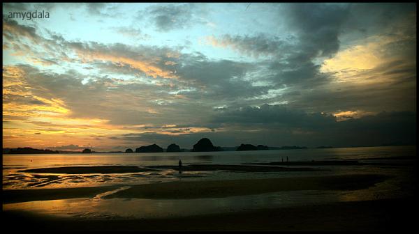 sun set, beach, dusk, krabi