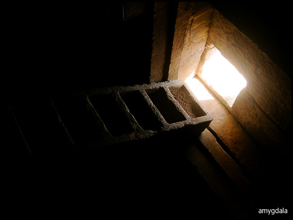 stone ladder, window, niche