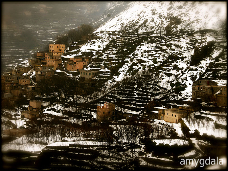 snowy valley in the high atlas mountains