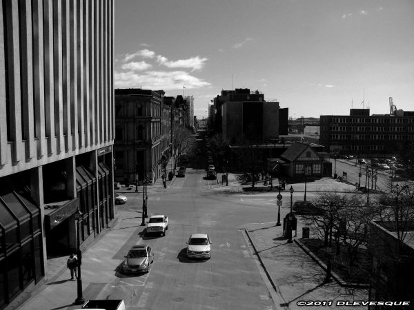Downtown in black & white