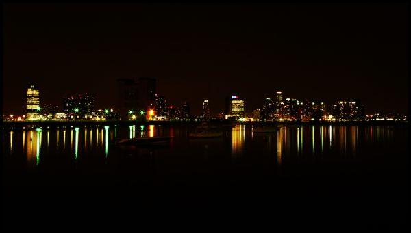 Boat, sea, ocean, Reflection, Buildings, City, Lig