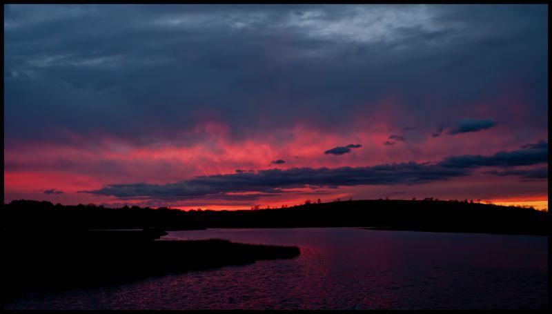 Sunset, Sun, Clouds, lake, water, nature