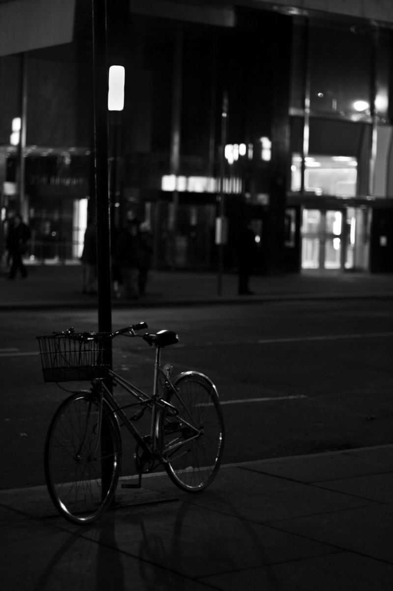 Bike, Night, street, city, lights, winter, transpo