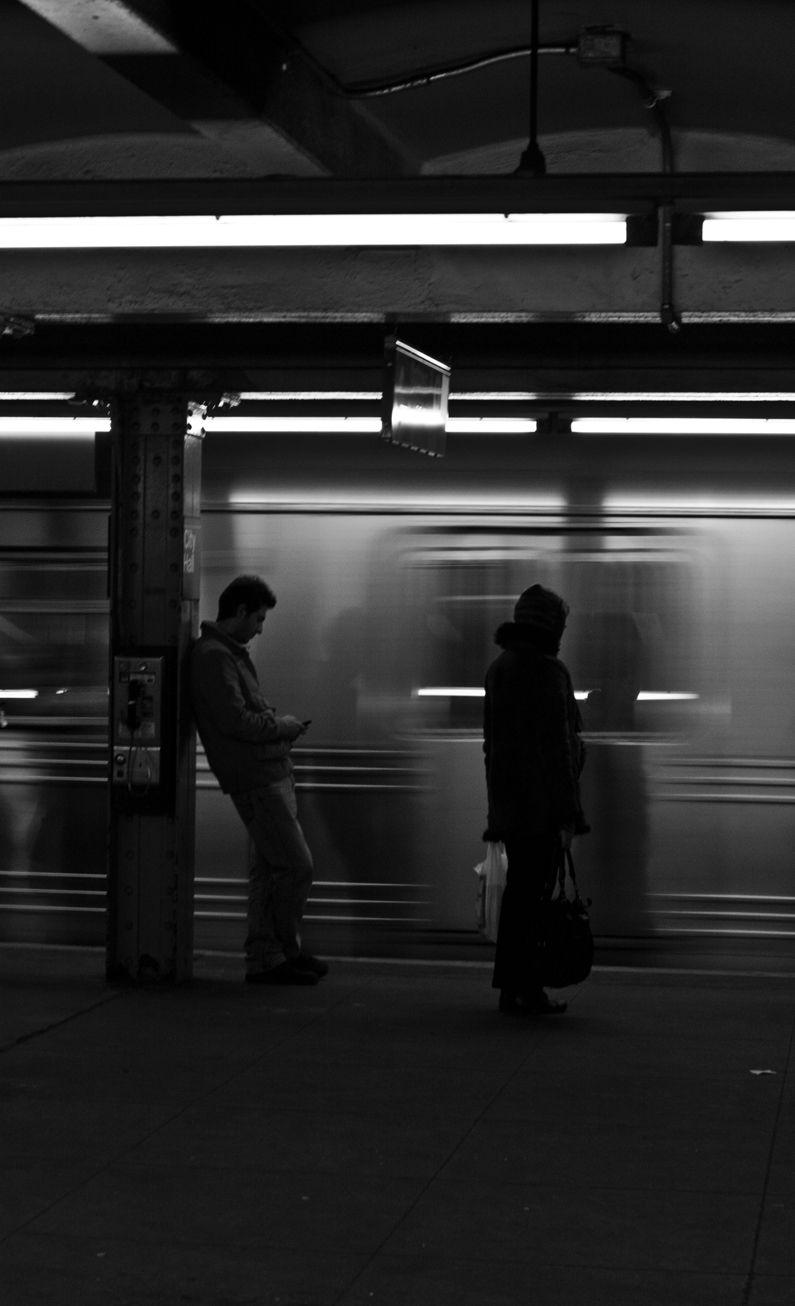 Night, Subway, Train, Speed, People, Waiting