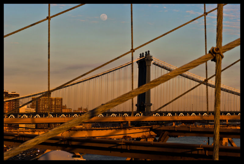Bridge, Buildings, Lines, Cars, Moon, City