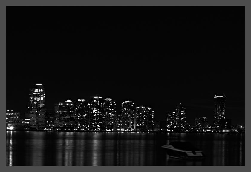 City, Manhattan, Boat, Sail, Lights, Night, Black
