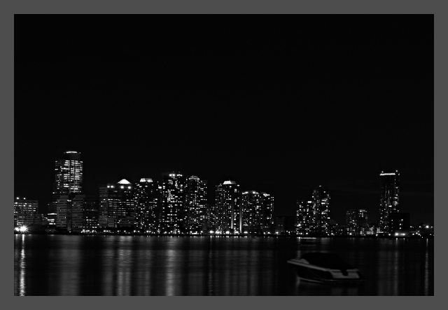 City, Manhattan, Boat, Sail, Lights, Night, Black