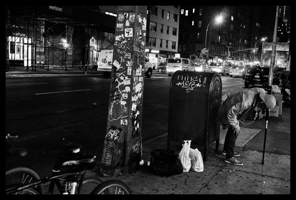 Manhattan, City, street, people, man, guy, cane