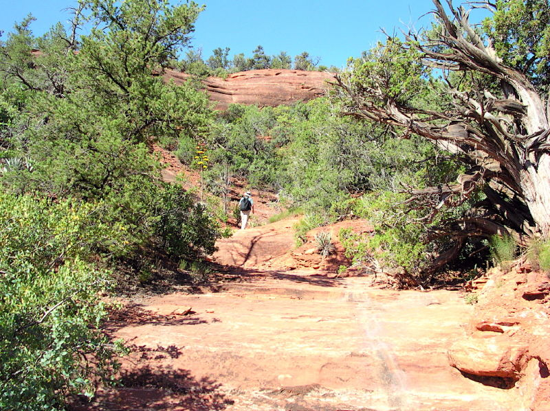 A hiker along the trail near Sedona.