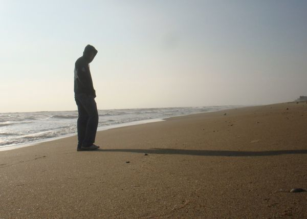 hubby on the beach