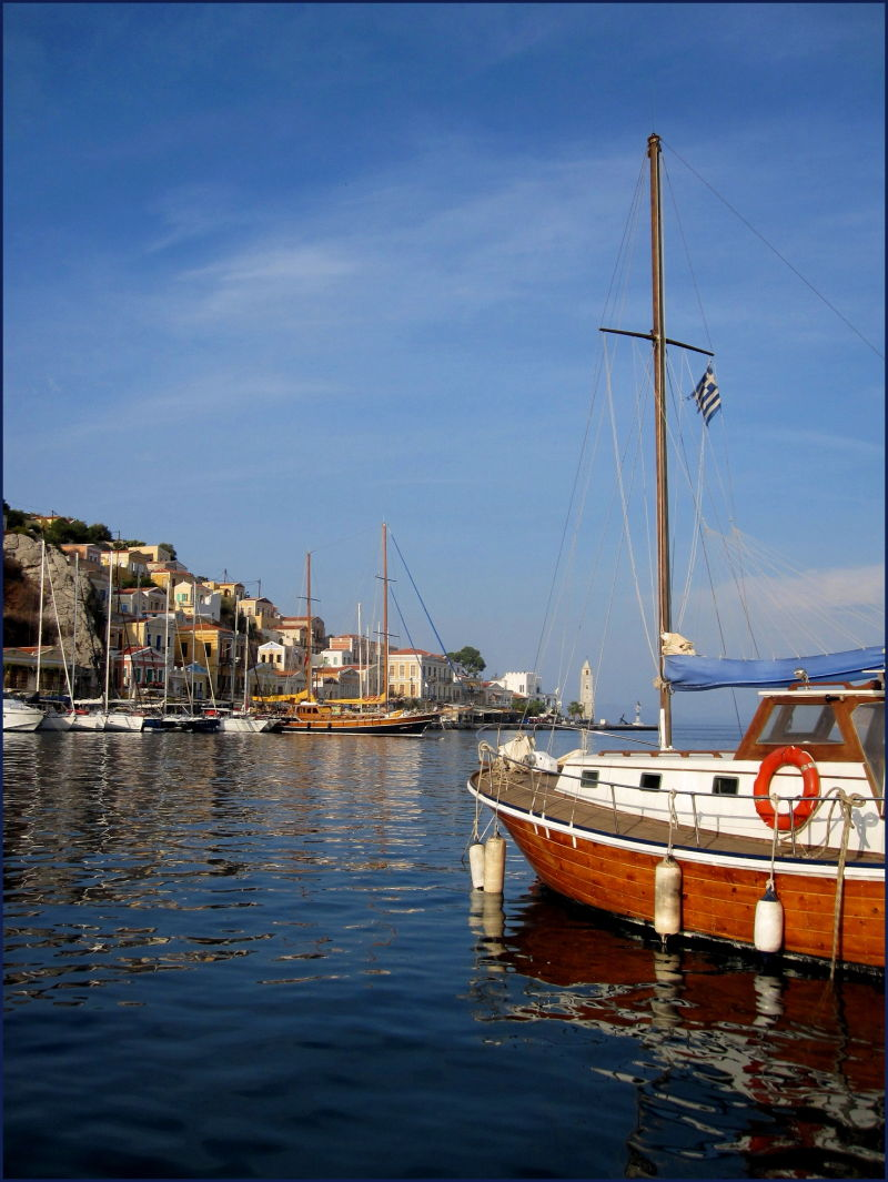 yacht heading for Symi port Greece