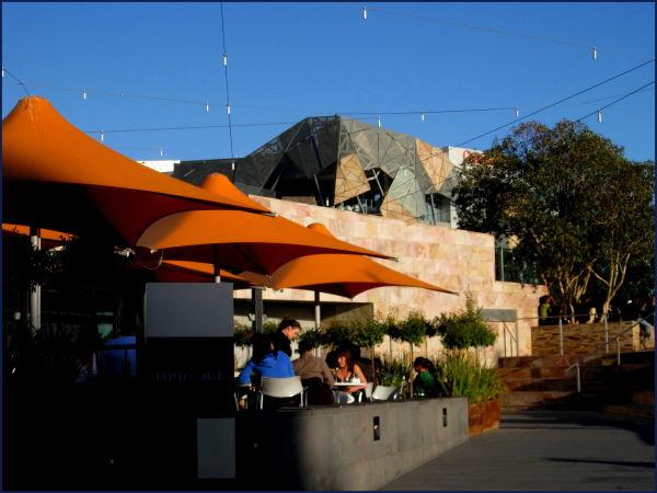 Federation square cafe umbrellas