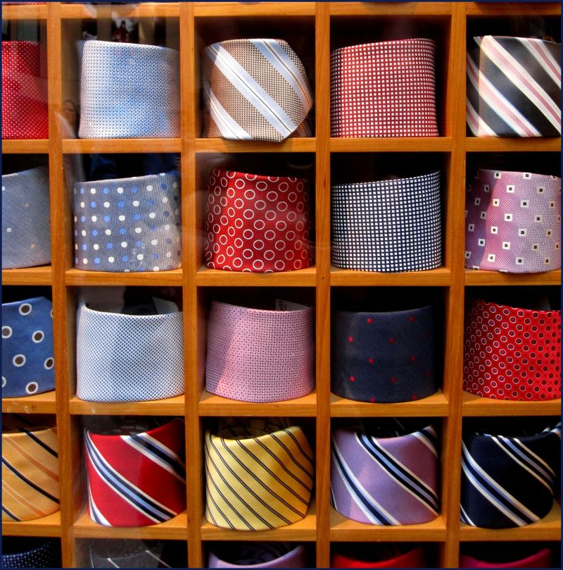 ties in a window display