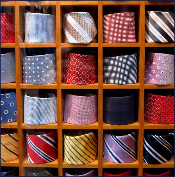 ties in a window display