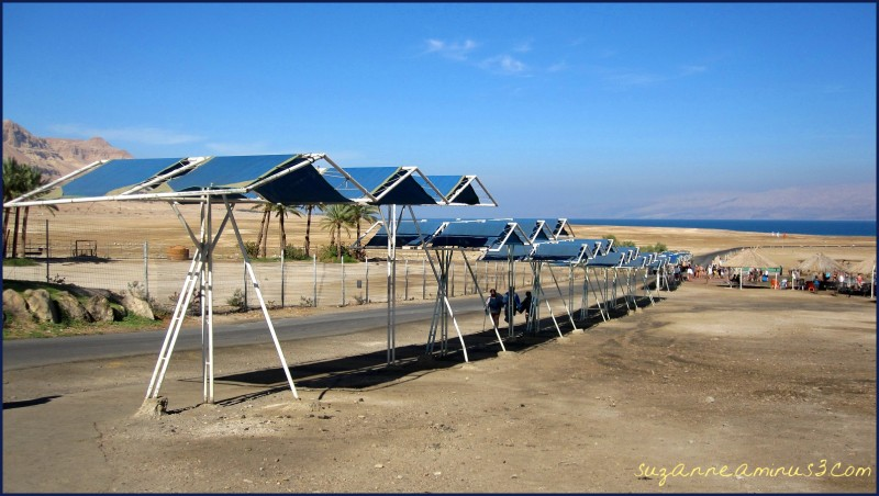 shade structures at the Dead Sea Israel