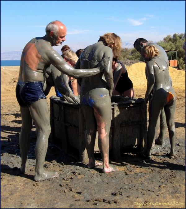 people applying dead Sea Israel mud