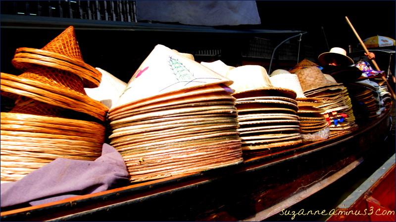 floating market hat stall Bangkok Thailand