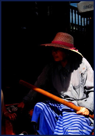 woman at the floating market Bangkok Thailand