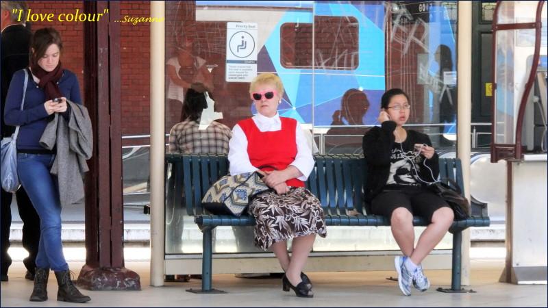 women waiting for a tram