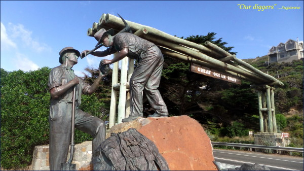 sculpture; Aust. Return Soldiers; Great Ocean Rd
