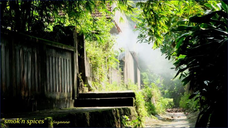 lombok village; cooking smoke
