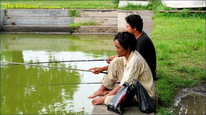 Patient fishermen; Balinese Temple Lake