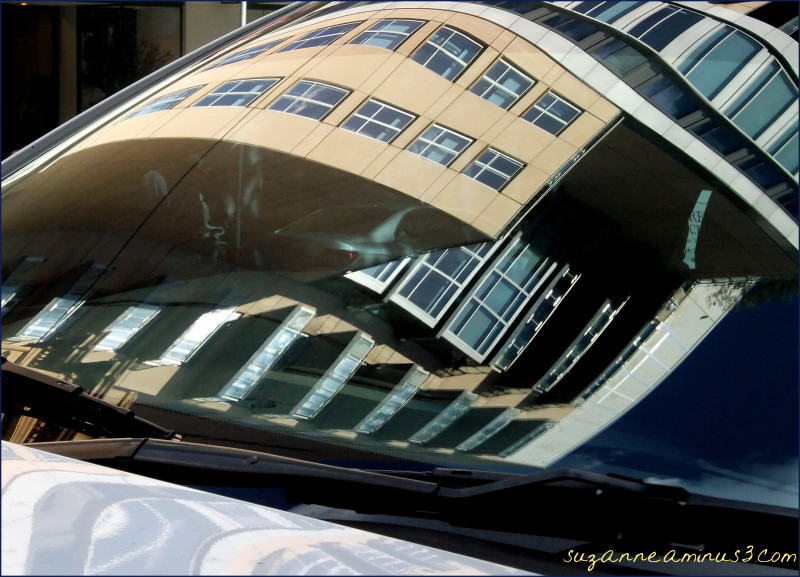 reflection, buildings, city, windscreen, car