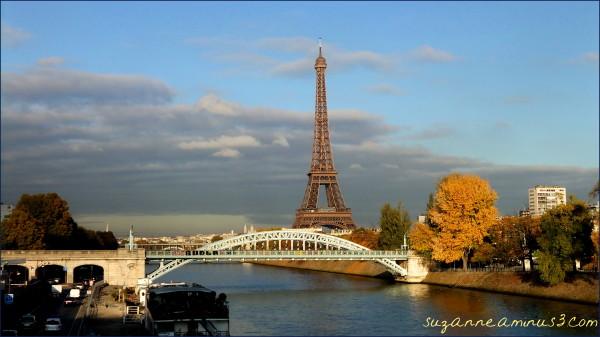image, paris, seine, tour eiffel, near sunset