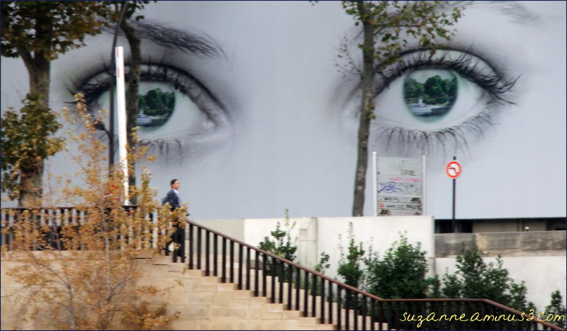 image, poster, woman's eyes, man, walking, paris