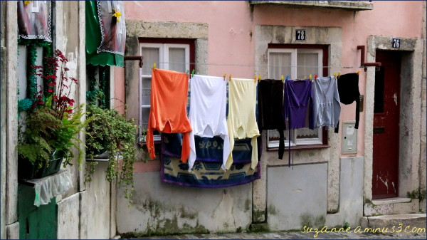 lisbon, street, washing, late afternoon