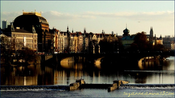 image, prague, late day, river, buildings
