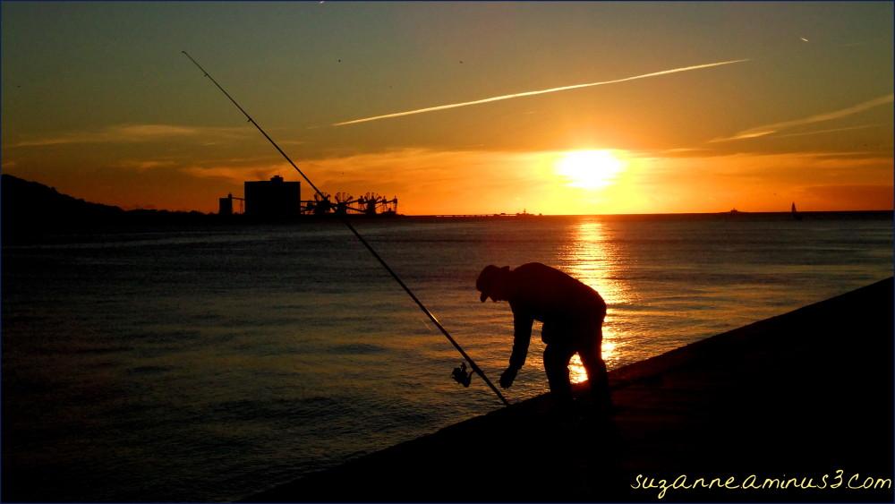 silhouette, image, fishman, line, sunset, lisbon