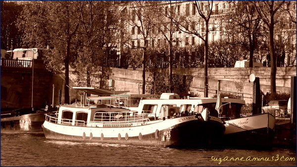 sepia, image, boats, seine, river, paris france