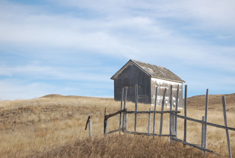 The old grainery on the hill behind the house
