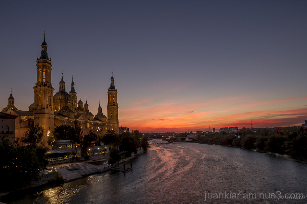 El Pilar Cathedral with the Ebro river at sunset