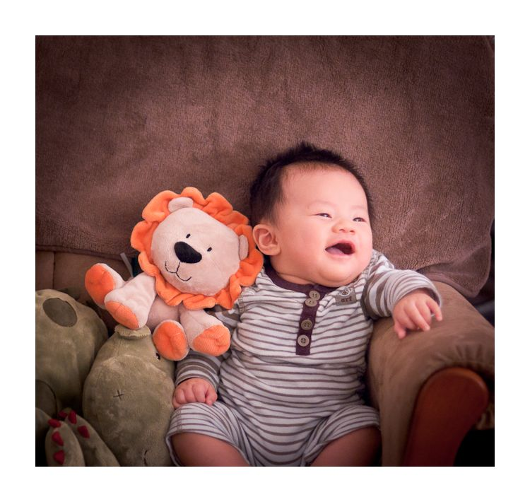 jihu with lion at 3 months