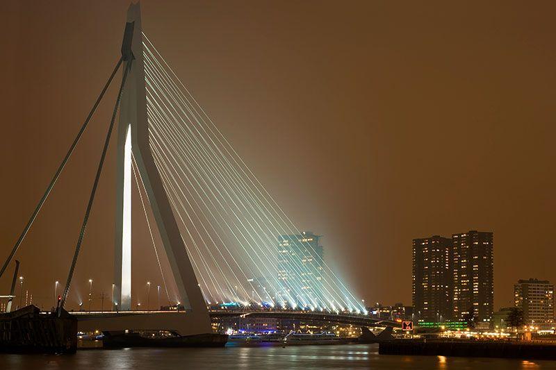 Erasmus bridge Rotterdam by night
