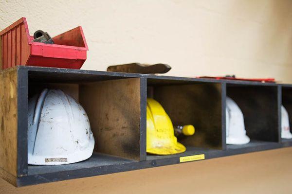 Hard hats in NedTrain railway workshop Onnen