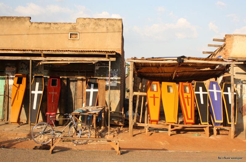 Colored coffins in Uganda